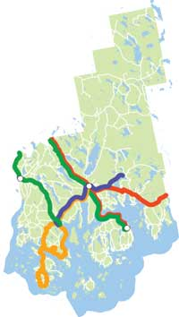 Overview map of Downeast bus routes